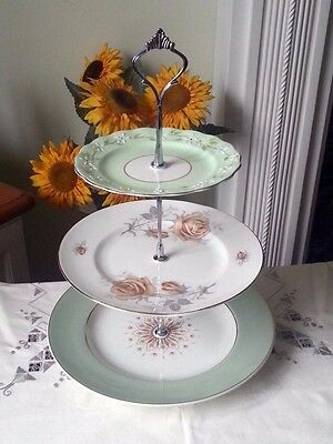 3 tier Green Vintage/ Shabby Chic Cake stand Afternoon Tea/Wedding/ Party