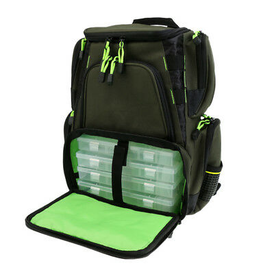 Fishing Backpack with 4 Tackle Box Reel Swivels Storage Bag Mulit-Pocket