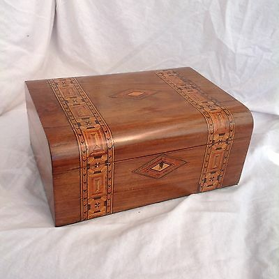 Handsome Victorian Dome Topped Writing Slope With Parquetry Bands