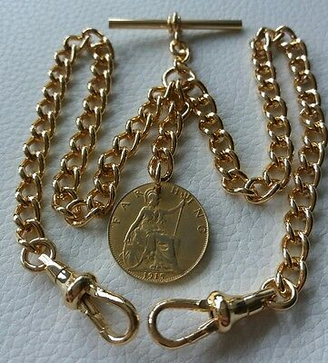 1915 WW1 Era Farthing Coin Fob Rolled Gold Double Albert Pocket Watch Chain