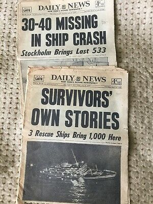 2 VINTAGE NY DAILY NEWS 7/27/56 7/28/56 ANDREA DORIA sinking Newspapers