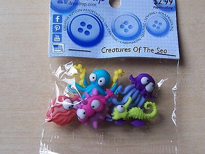 Dress It Up Buttons - Crafts/cardmaking - Creatures Of The Sea - 5 Pieces