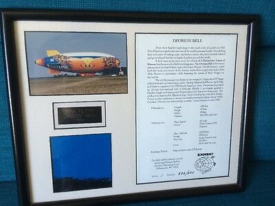 Pink Floyd - Division Bell DMC Real Airship Piece Very Rare Only 500 Framed Gift