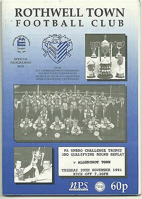 ROTHWELL TOWN v ALDERSHOT TOWN 29th NOVEMBER 1994 FA TROPHY 3rd QUALIFYING RD