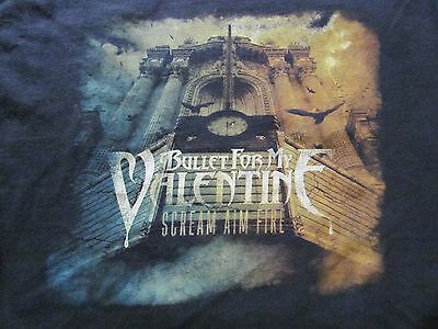 BULLET FOR MY VALENTINE Scream Aim Fire 2008 Tour T shirt size M Medium 19 by 26