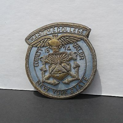 Antique Vintage Suny State University New York Maritime College Pin Badge W Gold