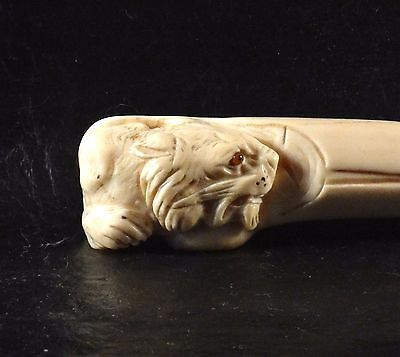 Antique Carved Tiger Head Handle Walking Cane Stick Sulfide Glass Eye Rare