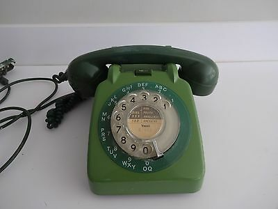 Vintage GPO 706L Rotary Telephone Two Tone Green