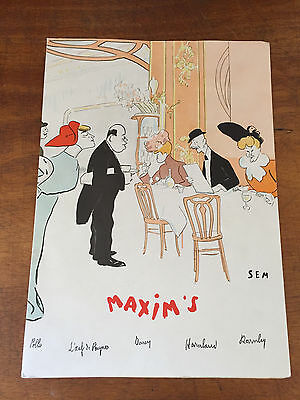 Ancien Menu Restaurant Maxim's Paris du 20 Avril 1978