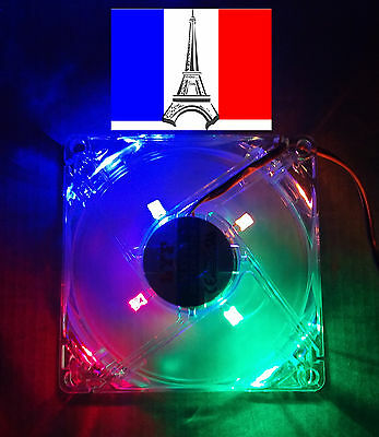 Ventilateur (LED multicol) fan PC 80x80 x 25 mm 12V 4pin molex mâle/femelle x2