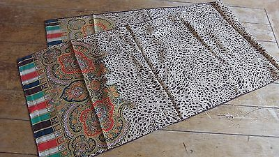 French Vintage Traditional Design Long Scarf 155 cm x  42 cm Good Condition
