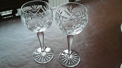 PAIR OF CUT-GLASS CRYSTAL HOCK / CHAMPAGNE WINE GLASSES, 19cm TALL