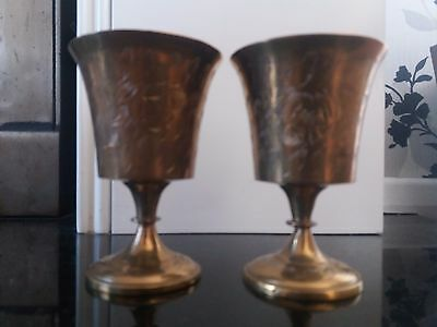 Pair of Antique Brass Goblet/ Chalice with Flower and Leaf Design Vintage