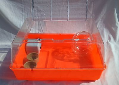 Large plastic hamster cage with metal bars