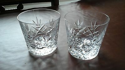 Pair of Vintage Crystal Cut-Glass Whisky Glasses, 8.5cm, unsigned