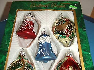 5 Vintage Glass Glitter Stenciled Hand Painted Ornament 2 Bell 3 Teardrop