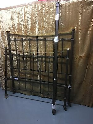 Edwardian Brass And Cast Iron Bed  With Side Irons 4'6""