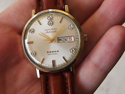 Longines Admiral 5 Stars Automatic Swiss Made Watch Rare Diamond Dial
