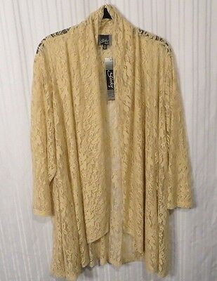 NWT Formal Evening Wedding Tan Lace Open Jacket  Top Sz. 3X