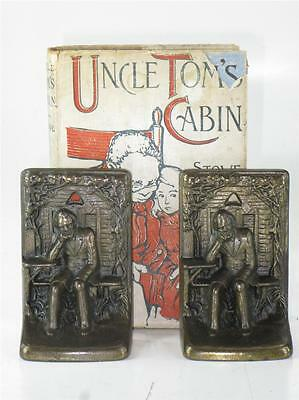 Antique Signed Judd Seated Lincoln Cabin Cast Iron Bronze Finish Unique Bookends