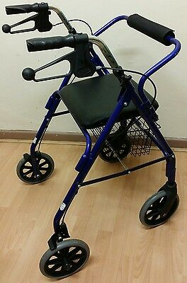 4 WHEEL Mobility Disability Folding Walking Rollator Frame Lifting Seat & Basket