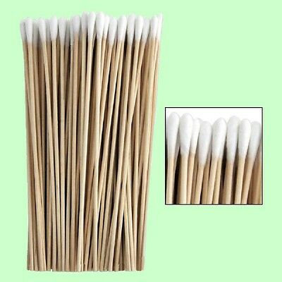 "100 Pc Cotton Swab Applicator Q-tip Swabs 6"" Extra Long Wood Handle Sturdy New !"