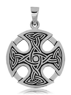 925 solid Sterling silver Celtic equal-armed cross with triquetras pendant