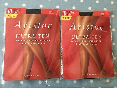 Ladies Tights- Aristoc Ultra ten- Brand New 10 Denier size 2 Black- 2 pairs