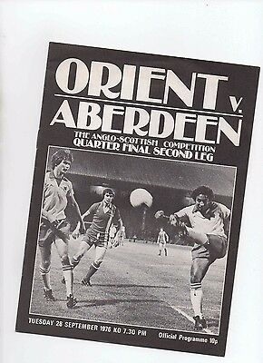 76/77 Orient V Aberdeen (Anglo Scottish Cup)