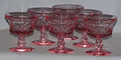 Fostoria - Jamestown Pink Swirl – Set  Of 6 Sherbert / Champagne Glasses