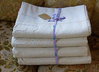 LOT 4 Vintage French PURE LINEN Sheets Mono MB Perfect for Drapes!! UNUSED Ecru