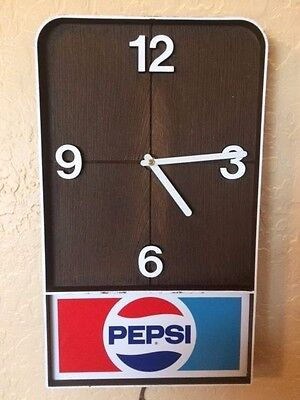 "Vintage 1970""s Pepsi Logo Plug In Diner Clock Impact International Inc."