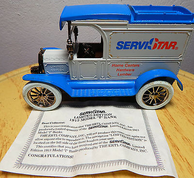 ERTL Die Cast 1913 Ford ServiStar Truck Bank w/ Key - Ertle NIB - Old Car Bank