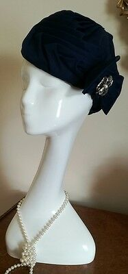 Vintage Navy Blue Pleated Art Deco Turban Hat With Bow Made in Britain NWOT