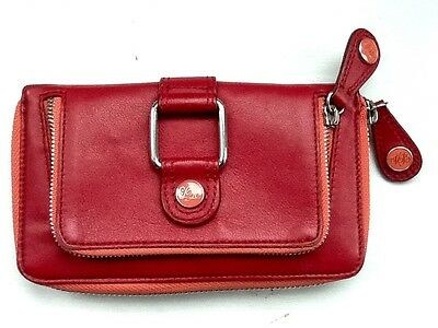 Ted Baker Ladies Soft Red Leather Zip Around Clutch Purse Excellent Condition