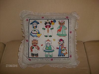 One hand embroidered KITTY themed occasional pillow