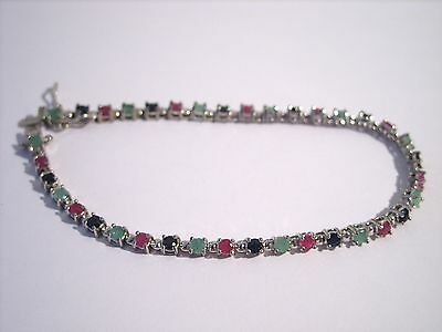 Sterling Silver 925 Natural Ruby Sapphire Emerald Stone Tennis Bracelet