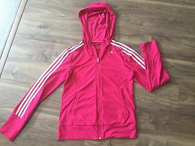Adidas Ladies Jacket Pink Climacool UK Small Size 8-10 Hooded Zip Up
