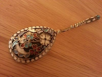 Russian Silver Gilt Cloisonné Enamel Tea Coffee Spoon Flowers Leaves Motif 12.2