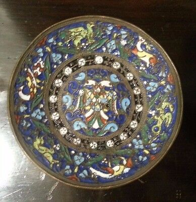 Russian Cloisonné Enamel Bronze Cooper Imperial Double Headed Eagle Plate Dish