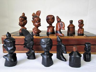 "Vintage Large African Tribe Chess Set From Ghana Queen 4.5"" +Orig Folding Board"