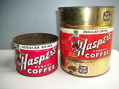 2 Vintage Haspers Empty Tin Coffee Cans Muskegon Michigan