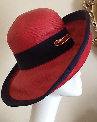 Authentic Christian Dior Licence Chapeaux Red Navy Blue Vintage Hat Fabulous!