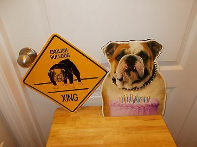 ENGLISH BULLDOG: 2 Novelty Items: Gift Bag and XING Sign 1990s