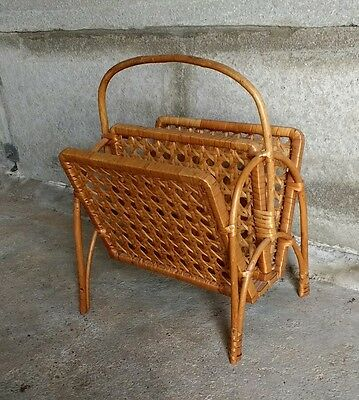 Mid century, rattan / wicker magazine rack. Great vintage condition.
