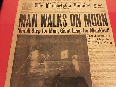 """1969 Landed on MOON July 21 Philadelphia Inquirer COMPLETE PAPER """"ALL SECTIONS"""""""