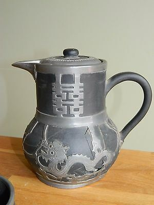 Antique Chinese Yixing Hsin Ho Cheng Whieaiwei pewter coffee pot  with dragon