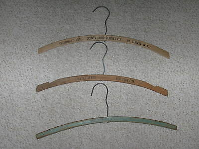 3 Vintage Advertising Wood Wooden Clothes Hangers NYC Hotels Rentals