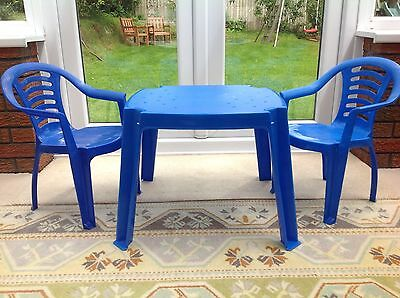 Childrens plastic table and 2 chairs.