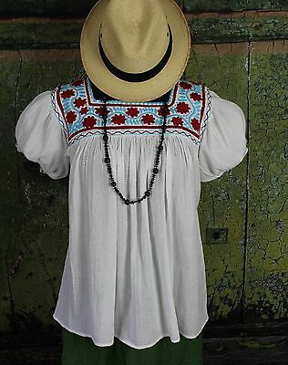Red Blue & White Hand Embroidery Blouse Mayan Chiapas Mexico Hippie Boho Peasant
